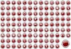 Sistema de iconos rojos del web de la frontera metálica de plata Fotografía de archivo