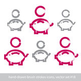 Sistema de iconos rosados a mano del piggybank, coi del dibujo de cepillo del movimiento Foto de archivo libre de regalías