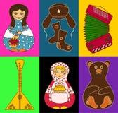 Sistema de iconos rusos aislados Imágenes de archivo libres de regalías