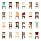 Sistema de iconos de sillas, ejemplo del vector Fotos de archivo libres de regalías