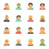 Sistema de iconos simples de la gente del avatar de la cara Imágenes de archivo libres de regalías