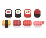 Sistema de iconos simples del sushi, estilo plano geométrico del vector Imagenes de archivo