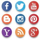 Sistema de iconos sociales aislados en el fondo blanco Imagen de archivo libre de regalías
