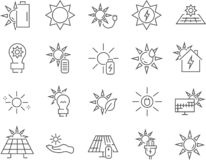 Sistema de iconos solares del vector de la línea eléctrica ilustración del vector