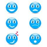 Sistema de iconos sonrientes con la expresión de la cara Fotos de archivo