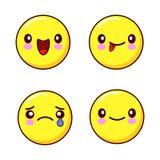 Sistema de iconos sonrientes de la cara o de emoticons amarillos con diversas expresiones faciales que aislé en el fondo blanco p libre illustration