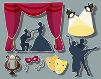 Sistema de iconos temporarios del funcionamiento del teatro stock de ilustración