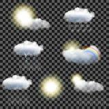 Sistema de iconos transparentes del tiempo Fotos de archivo libres de regalías
