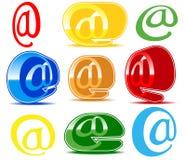 Sistema de iconos varicoloured del email Fotos de archivo libres de regalías
