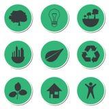 Sistema de iconos verdes de la tecnología Imágenes de archivo libres de regalías