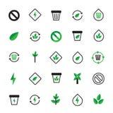 Sistema de iconos verdes negros de la ecología Ilustración ecológica libre illustration