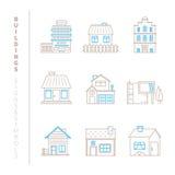 Sistema de iconos y de conceptos de los edificios del vector en la mono línea estilo fina Imagen de archivo libre de regalías