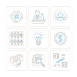 Sistema de iconos y de conceptos del negocio del vector en la mono línea estilo fina Imagen de archivo