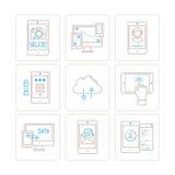 Sistema de iconos y de conceptos móviles de la tecnología del vector en la mono línea estilo fina Imagen de archivo libre de regalías