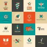 Sistema de iconos y de etiquetas engomadas para el arte y la educación Imagen de archivo