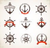 Sistema de iconos y de símbolos náuticos del vintage stock de ilustración