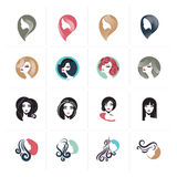 Sistema de iconos y muestras planos del avatar de la mujer del diseño para la belleza, moda, cosméticos, balneario y salud, atenc stock de ilustración