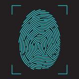 Sistema de identificação da exploração da impressão digital ilustração stock