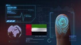 Sistema de identificação de varredura biométrico da impressão digital Nacionalidade de Emiratos Árabes Unidos fotografia de stock