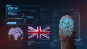 Sistema de identificação de varredura biométrico da impressão digital Nacionalidade de Reino Unido imagens de stock royalty free