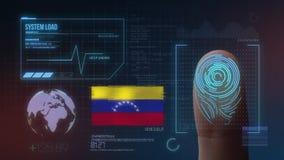 Sistema de identificação de varredura biométrico da impressão digital Nacionalidade da Venezuela imagens de stock