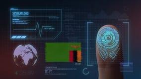 Sistema de identificação de varredura biométrico da impressão digital Nacionalidade de Zâmbia imagem de stock