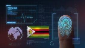 Sistema de identificação de varredura biométrico da impressão digital Nacionalidade de Zimbabwe foto de stock royalty free