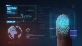 Sistema de identificación de exploración biométrico de la huella dactilar ilustración del vector