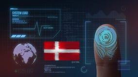 Sistema de identificación de exploración biométrico de la huella dactilar Nacionalidad de Dinamarca stock de ilustración