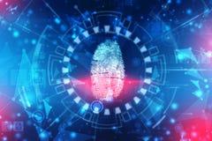 Sistema de identificación de la exploración de la huella dactilar Concepto biométrico de la seguridad de la autorización y del ne imagenes de archivo