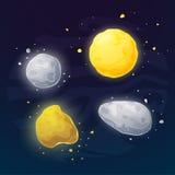 Sistema de illustartion del vector de los asteroides del espacio libre illustration