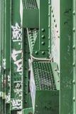 Sistema de iluminação da noite da ponte de Sava velho com S rebitado aço Imagens de Stock Royalty Free