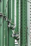 Sistema de iluminação da noite da ponte de Sava velho com S rebitado aço Fotografia de Stock Royalty Free