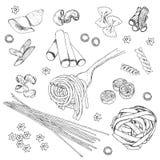 Sistema de imágenes aisladas del bosquejo de las pastas ilustración del vector