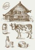 Sistema de imágenes de los productos lácteos y de la casa rural Vaca, cabaña, botella y un vidrio, latas de la leche y etiqueta Fotos de archivo libres de regalías