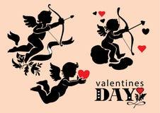 Sistema de imágenes del día de tarjeta del día de San Valentín de los cupidos Fotos de archivo libres de regalías
