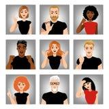 Sistema de imágenes del vector de la gente con diversas emociones Avatares en estilo de la historieta Foto de archivo