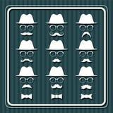 Sistema de imágenes de los hombres con los sombreros y los bigotes stock de ilustración