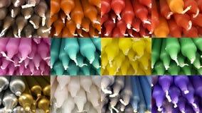 Sistema de imágenes de velas cilíndricas en diversos colores fotos de archivo