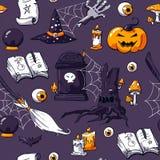 Sistema de imagen del garabato de Halloween en el fondo violeta Modelo inconsútil del garabato de Halloween Zombi exhausto de los stock de ilustración