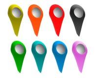 Sistema de indicadores brillantes del mapa. Imagenes de archivo