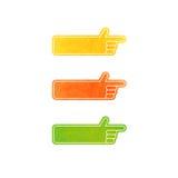 Sistema de indicadores de la mano del vector - amarillos, anaranjado, verde Imágenes de archivo libres de regalías