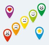 Sistema de indicadores del mapa con los emoticons Fotos de archivo