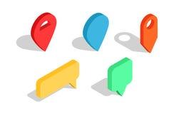 Sistema de indicadores isométricos del mapa Iconos multicolores del perno del mapa Imágenes de archivo libres de regalías