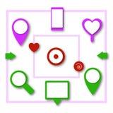 Sistema de indicadores de la ubicación del mapa 3D Imagen de archivo