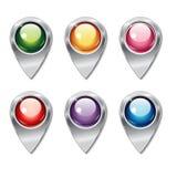 Sistema de indicadores metálicos del mapa con los botones brillantes coloreados Fotografía de archivo libre de regalías