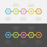 Sistema de Infographic de la cronología de cinco pasos Línea colorida segmento del polígono modelo Diseño plano Fondo blanco negr Fotografía de archivo