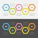 Sistema de Infographic de la cronología de cinco pasos Segmento grande colorido del polígono modelo Diseño plano Fondo blanco neg Imagenes de archivo