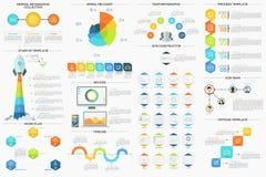 Sistema de 9 Infographics mínimo plano ilustración del vector