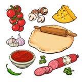 Sistema de ingredientes de la pizza del estilo del bosquejo libre illustration